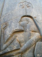 A carving of Seshat in the Luxor temple complex, Egypt.
