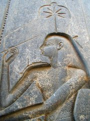 A carving of Sesherat as Seshat/Shesat in the Luxor temple complex, Egypt.