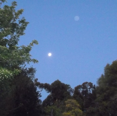 Moon rises with blue Orb, July 20, 2014