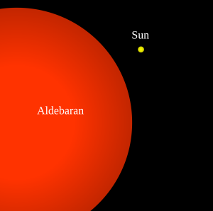 Aldebaran (Alpha Tauri), big red star.