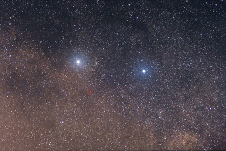 Alpha and Beta Centauri (Proxima Centauri marked in the red circle, nearest star to Earth, after our sun)