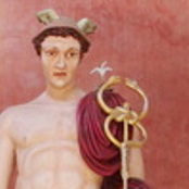 Detail of Mercury/Hermes with the caduceus, and white lily of Annunciation above his shoulder. Photo: Bareld Nijboer, Aug. 2013.