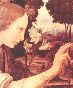 Archangel Gabriel holds the Lily of Inception/immaculate conception, in 'The Annunciation to the Virgin' by Leonardo da Vinci, circa 1472-75.