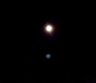 Sirian Blue orb under Moon.
