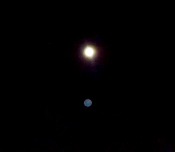 Sirian Blue orb under Moon.