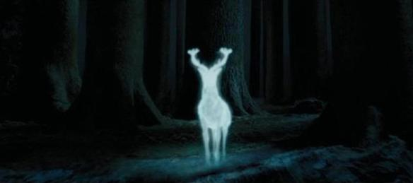 Harry Potter's White Stag patronus charm, in the Forbidden Forest, image courtesy Warner Bros films.