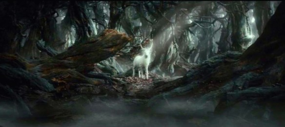 The White Stag appears in the dark forest of Mirkwood, in The Hobbit: The Desolation of Smaug, image courtesy New Line Cinema/MGM.