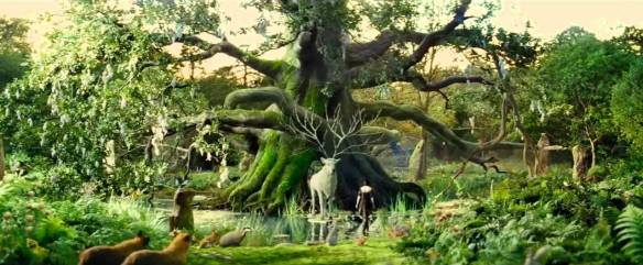 Snow White meets the White Stag in the Sanctuary, image courtesy Universal Pictures.