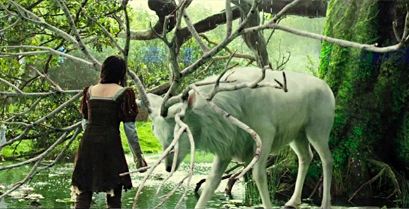 The White Stag blesses Snow White. Image courtesy Universal Pictures.