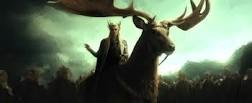 Thranduil, riding his elk, stays his hand and spares his men from war. The Hobbit: An Unexpected Journey, image courtesy New Line Cinema/MGM.
