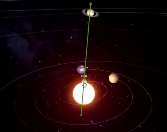 Image is a still from Ditrianum Media youtube video simulation of planetary positions May 28 2015.