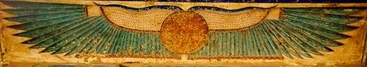 Ra depicted as the Winged Sun, ancient Egyptian painting on stone.