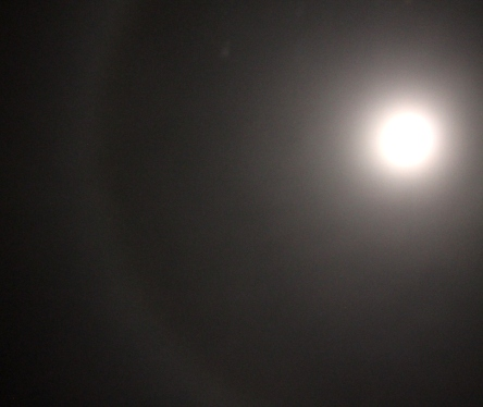Photo by Bareld, showing part of the halo around the moon, July 27th, 2015, with a ship visible within the halo 'gateway'.