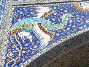 Simurgh mosaic, Bukhara, Uzbekistan.