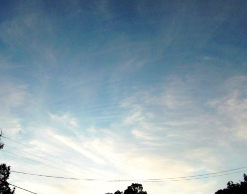 Horizontal bands appear among chem-clouds, the visual 'imprint' of the Leonine Beings' purr sound, June 5th, 2015.