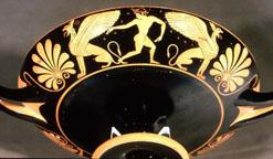 Gryphons on a Greek bowl c.625-700BC.