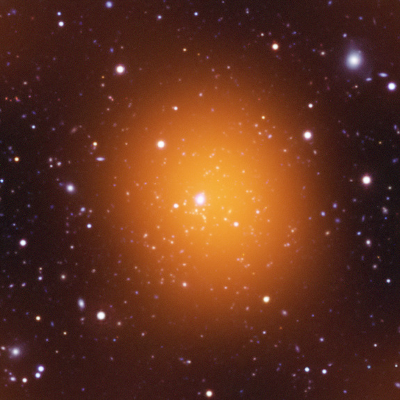 Phoenix Cluster of galaxies, microwave image: NASA.
