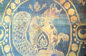 Simurgh on Sassanid silk 6-7th century. Image: Wikipedia