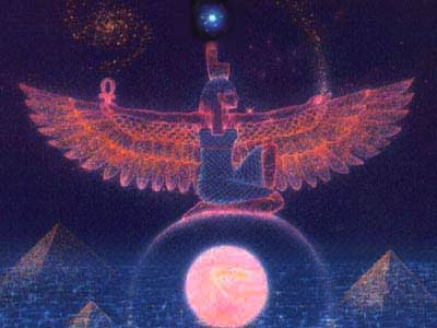 Winged Isis on the Arch of the Rose Moon, with Sirius shining above, artist unknown, image via Crystalinks.