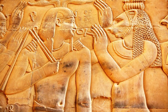 Leonine being gives healing through the ankh, wall relief Kom Ombo, Temple of Isis, Philae.