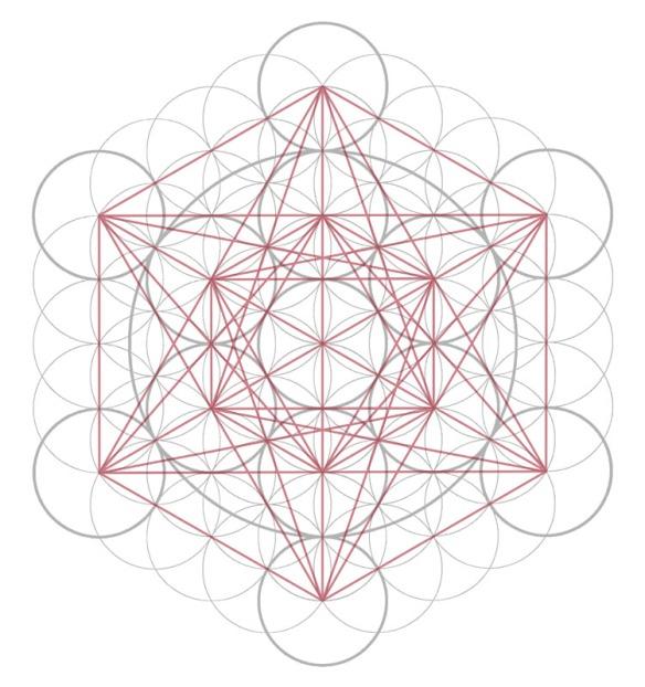 Metatron's Cube, showing Star of David/Merkaba.